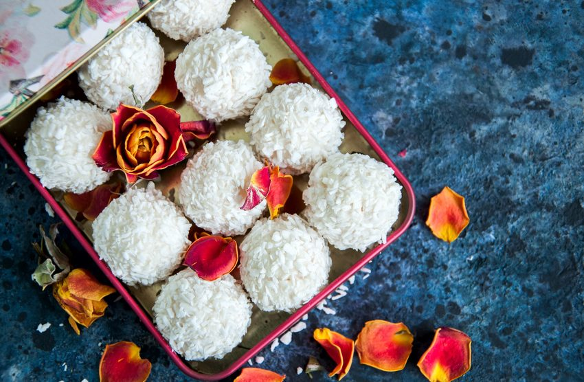 White chocolate truffles covered with coconut shavings