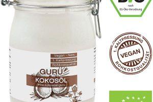 1000ml Guru Bio Kokosöl im praktischen Drahtbügelglas